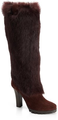HUGO BOSS 'Thala'   Suede and Fur Boot by BOSS Orange