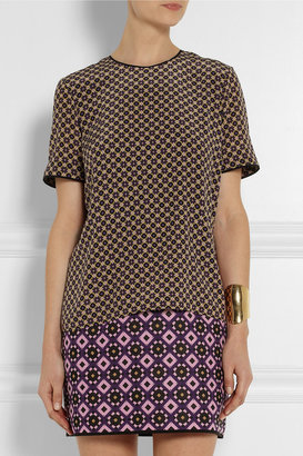 Victoria Beckham Victoria, Printed silk and jacquard mini dress