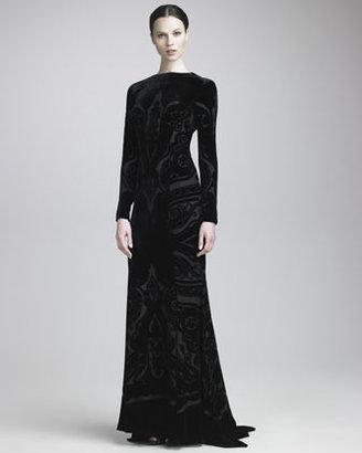 Etro Devore Long-Sleeve Gown