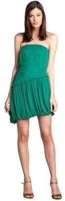Vera Wang emerald pleated silk chiffon ruffle trim strapless dress