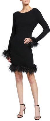 Feather Hem Fitted Dress