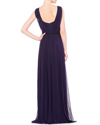 Carolina Herrera Sleeveless Chiffon Evening Gown, Ultramarine