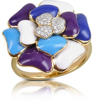 Rosato Tearose - Diamond and 18K Gold Blue Small Flower Ring