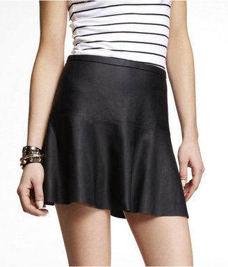 Express (Minus The) Leather Fit And Flare Skirt