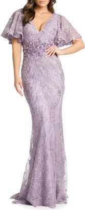 Mac Duggal Angel-Sleeve Beaded Lace Column Gown
