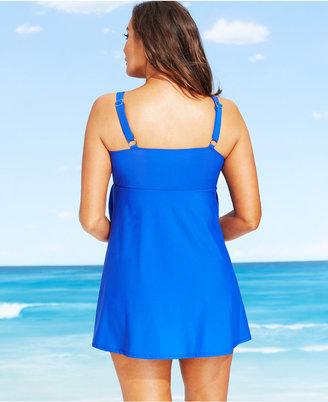 Swim Solutions Plus Size Tiered Ruffled Swimdress