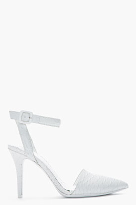 Alexander Wang Glacier white Python Embossed Lovisa heels
