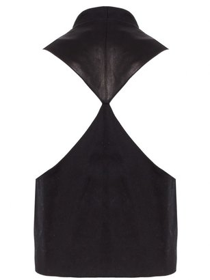Alice + Olivia Jacqui Collarless Vest With Leather