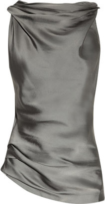 Donna Karan Cowl-neck matte-satin and jersey top