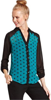 Amy Byer Juniors Top, Long Sleeve Polka-Dot-Print Cutout Blouse