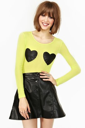 Nasty Gal Black Hearts Bodysuit