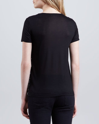RED Valentino Lace-Panel Tee, Black