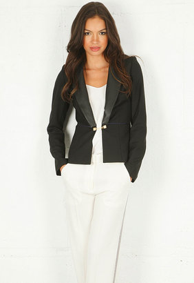 Singer22 Katherine Blazer with Leather Flap Exclusive in Black with Black Leather Trim - by Sandra Weil