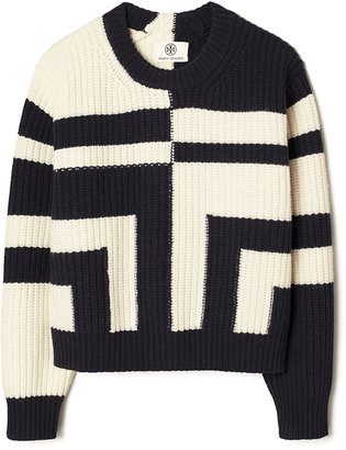 Tory Sport Two-Tone Ribbed Merino Wool Sweater