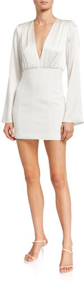 Cinq à Sept Sandy Plunging Flare-Sleeve Short Dress