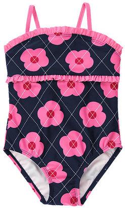 Gymboree Argyle Flower Ruffle One-Piece Swimsuit