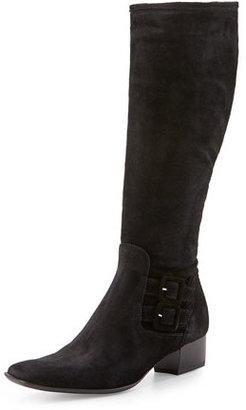 Sesto Meucci Delice Suede Knee Boot, Black $315 thestylecure.com