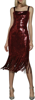 Bronx and Banco Cherie Sequined Midi Fringe Dress