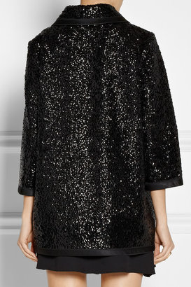 Sequin-embellished wool coat