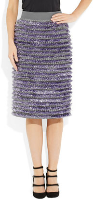 Marc Jacobs Tinsel-striped bouclé and stretch-wool twill skirt