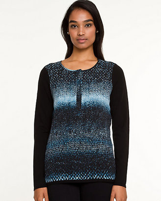 Le Château Knit & Woven Abstract Print Sweater