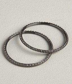 Black Diamond Set of 2 Pave Bangles