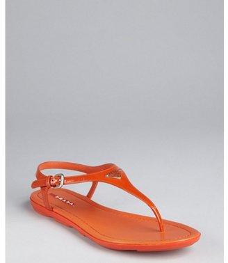 Prada Sport orange patent leather logo thong sandals