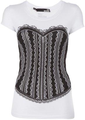 Love Moschino corset print t-shirt