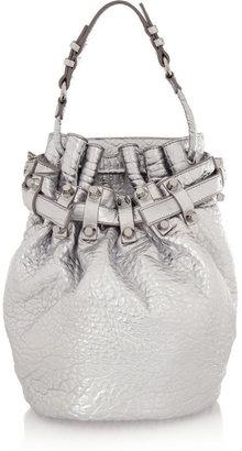 Diego metallic textured-leather shoulder bag