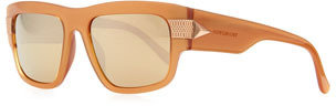 Givenchy Modified Rounded Rectangular Sunglasses, Taupe