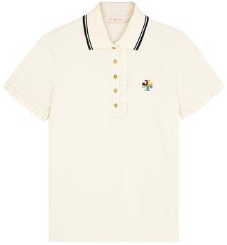 Tory Burch Off-white Ruffle-trimmed Cotton Polo Shirt