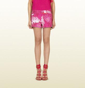 Gucci Shocking Pink Little Dahlia Print Denim Short