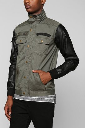 Urban Outfitters Black Apple M65 Faux-Leather Sleeve Jacket