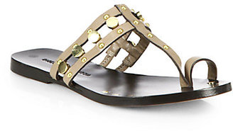 Sigerson Morrison Buffy Studded Leather Toe Ring Sandals