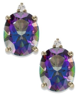 Macy's 14k Gold Mystic Topaz (7 ct. t.w.) and Diamond Accent Oval Earrings
