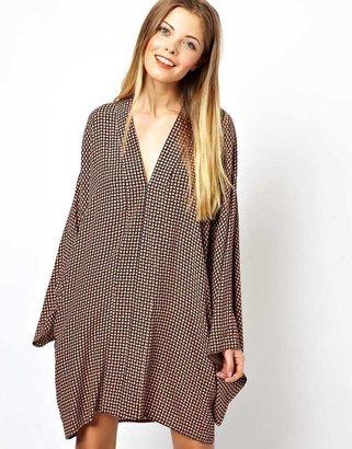 Asos Kimono Dress In Geo Print