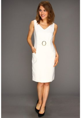 Tahari by Arthur S. Levine Tahari by ASL - Juanita Jacquard Dress (White) - Apparel