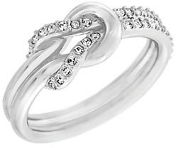 Swarovski Voile Silver Tone and Crystal Knot Ring