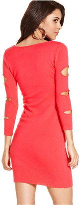 Planet Gold Juniors Dress, Three-Quarter-Sleeve Cutout Sweater