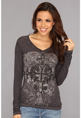 Rock and Roll Cowgirl - Long Sleeve Embellished Cross Tee (Steel 1) - Apparel