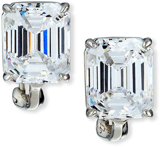 FANTASIA 13.0 Carat Cubic Zirconia Emerald-Cut Stud Earrings