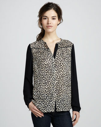 Rebecca Taylor Leopard-Print Georgette Shirt