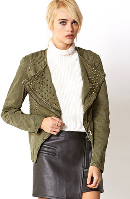 Forever 21 Military-Inspired Spiked Denim Jacket