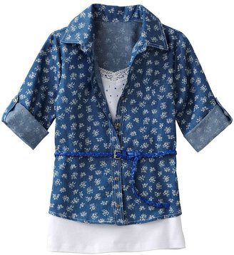 Knitworks belted mock-layer floral top - girls 7-16