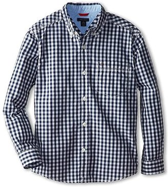 Tommy Hilfiger Baxter L/S Woven Shirt (Big Kids) (Flag Blue) Boy's Long Sleeve Button Up