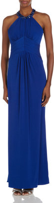 Laundry by Shelli Segal Bead-Trim Racerback Gown, Lake