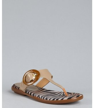 Hogan beige patent leather 'Ibiza' buckle thong sandals