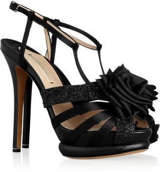 Nicholas Kirkwood Glitter-finish satin sandals