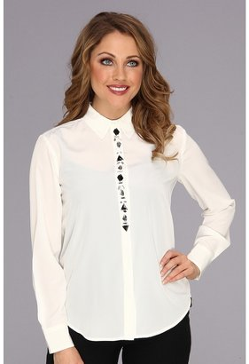 Vince Camuto Center Front Jewel Blouse (New Ivory) - Apparel