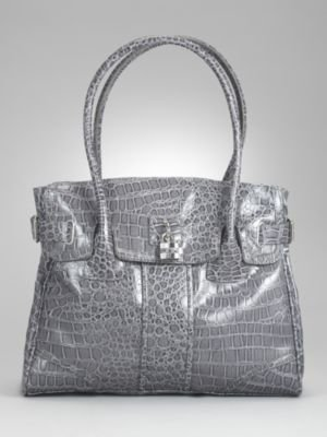 New York & Co. Shiny Croc Padlock Satchel